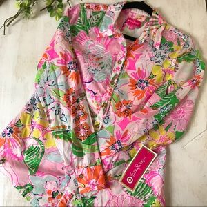 Lilly Pulitzer Nosey Posey Button Down Shirt Small